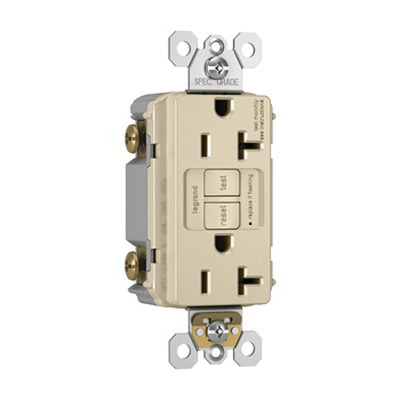 Pass & Seymour 2097-LA Specification Grade Self-Test GFCI Duplex Receptacle 20 Amp 125 Volt AC NEMA 5-20R Light Almond Radiant®