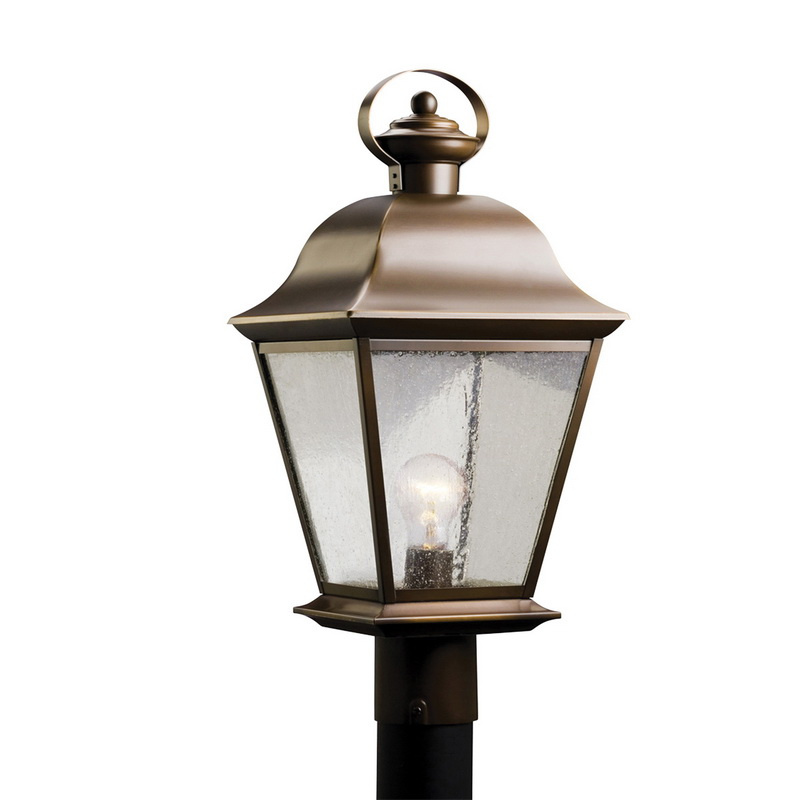 Kichler 9909oz 1 light outdoor post light 150 watt 120 volt olde bronze mount vernon mount