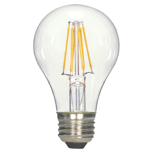 Satco S9252 A19 Omnidirectional LED Filament Lamp 6.5 Watt E26 Medium Base 810 Lumens 80 CRI 2700K Warm White