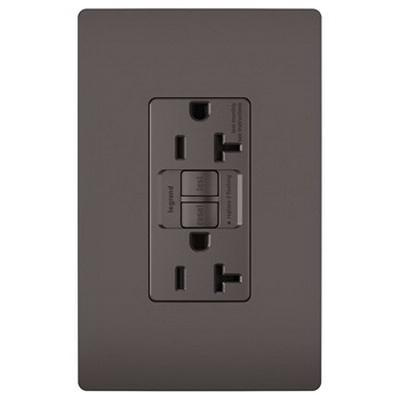 Pass & Seymour 2097-TR Specification Grade Tamper Resistant Self-Test GFCI Duplex Receptacle 20 Amp 125 Volt AC NEMA 5-20R Brown Radiant®