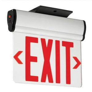 Hubbell Lighting CELS1GNE Emergency CEL Series Single Face LED Edge-Lit Exit Sign Brushed Aluminum Housing Green Letter 120/277 Volt Compass®