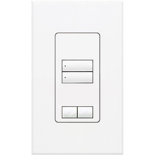 Lutron QSWS2-2BRLI-WH Wallbox Mount 2 Raise/Lower Button Wallstation ...