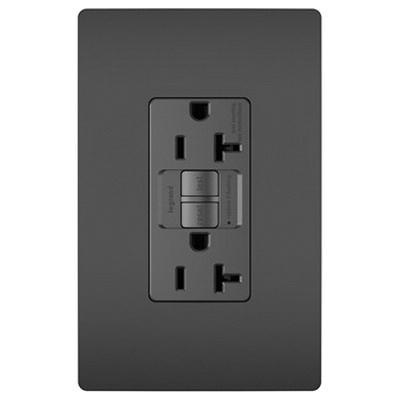 Pass & Seymour 2097-BK Specification Grade Self-Test GFCI Duplex Receptacle 20 Amp 125 Volt AC NEMA 5-20R Black Radiant®