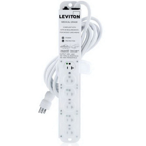 Leviton 5306M-2S5 125-Volt AC 20-Amp 6 Outlet Medical Grade Surge  Protective Power Strip With Locking Covers