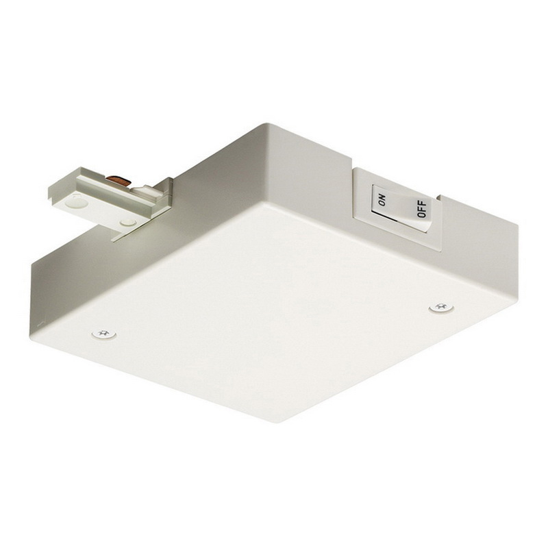 Juno Lighting Single Circuit Track: Juno Lighting RCLF11 WH Current Limiting End Feed Connector Molded Polycarbonate White For 1