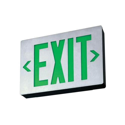Lithonia Lighting LE-S-W-1-G-EL-N Emergency LE Series LED Exit Sign White Housing Green Letter 120/277 Volt Signature