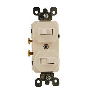 Leviton 5224-2T 120/277 Volt AC 15 Amp (2) 1-Pole Duplex Commercial Traditional Grade AC Combination Switch Light Almond