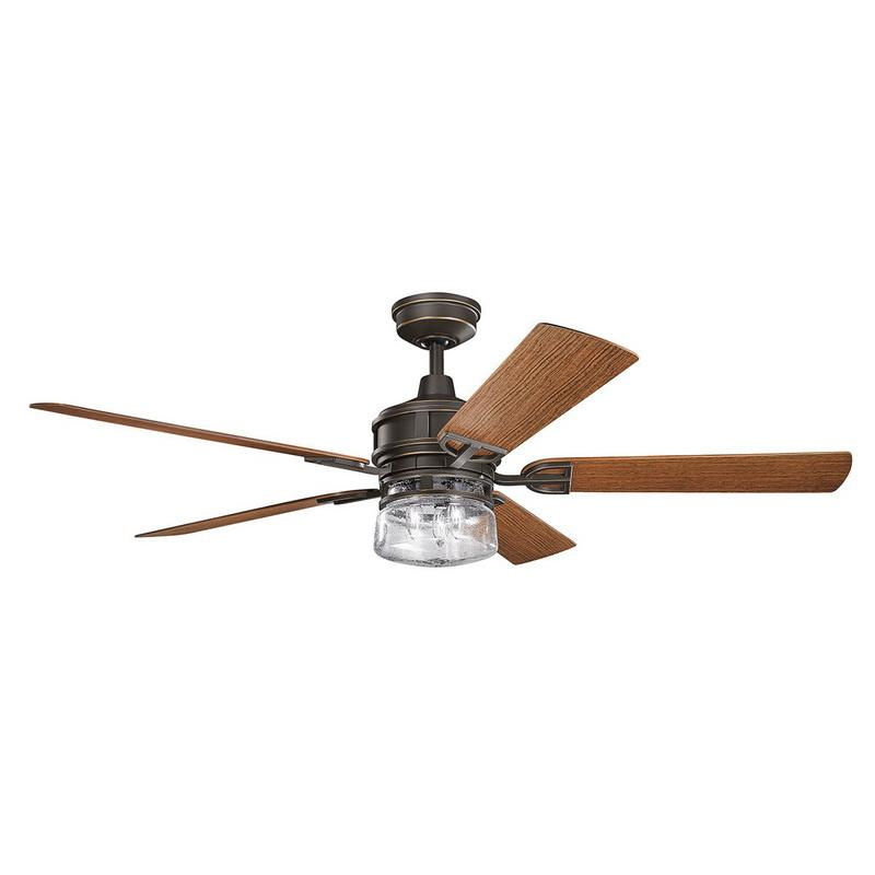Kichler 310140OZ Lyndon Patio Indoor Ceiling Fan With Light Kit 60 Inch 5 Blade Olde Bronze