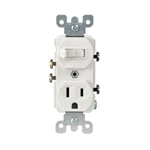 Leviton 5225-T 1-Pole Traditional Duplex AC Combination Receptacle/Switch on