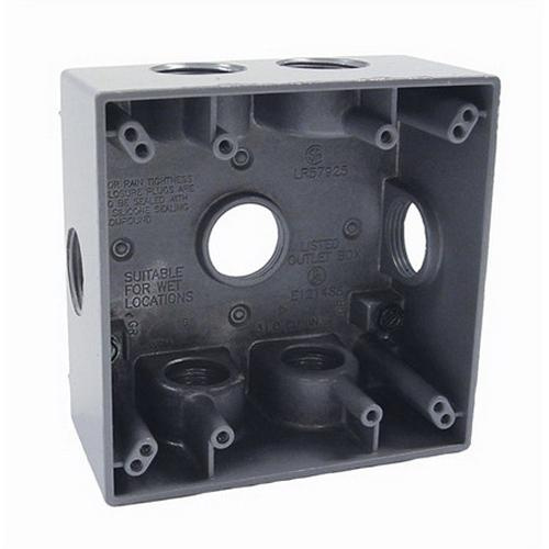 4 4 Weatherproof Electrical Box: Raco 5346-0 Powder Coated Die Cast Aluminum 2-Gang