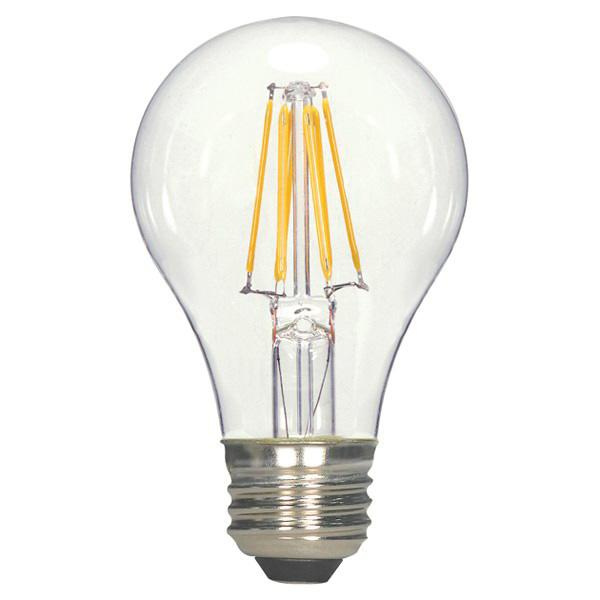 Satco S9562 A19 Omnidirectional LED Filament Lamp 6.5 Watt E26 Medium Base 810 Lumens 80 CRI 2700K Warm White