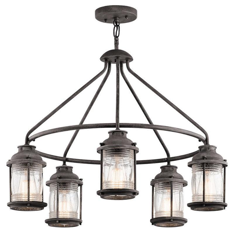 Ashland Pedestal Lantern In Weathered Zinc: Kichler 49667WZC 5-Light Outdoor Chandelier 60-Watt 120