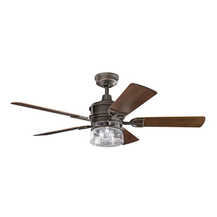 Kichler 310139OZ Ceiling Fan With Light 52 Inch 5 Blade 3 Speed Olde Bronze Lyndon Patio
