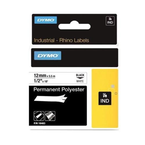 Lenox Tools 18483 Polyester Industrial Permanent Label Printer Marker 1/2 Inch x 18 ft Black On White Dymo Rhino™ Velua™