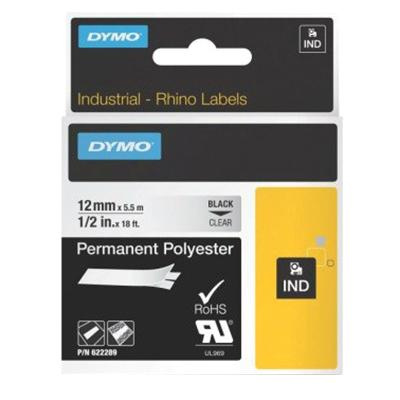 Lenox Tools 622289 Polyester Industrial Permanent Label Printer Marker 1/2 Inch x 18 ft Black On Clear Dymo Rhino™ Velua™
