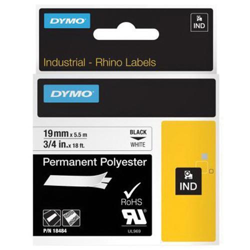 Lenox Tools 18484 Polyester Industrial Permanent Label Printer Marker 3/4 Inch x 18 ft Black On White Dymo Rhino™ Velua™