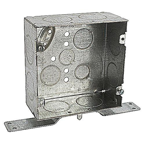 Thomas & Betts 5-SDW-FB-1 Pre-Galvanized Steel Outlet Box 4-11/16 Inch x 4-11/16 Inch x 2-1/8 Inch 42 Cubic-Inch Steel City® Bowers®