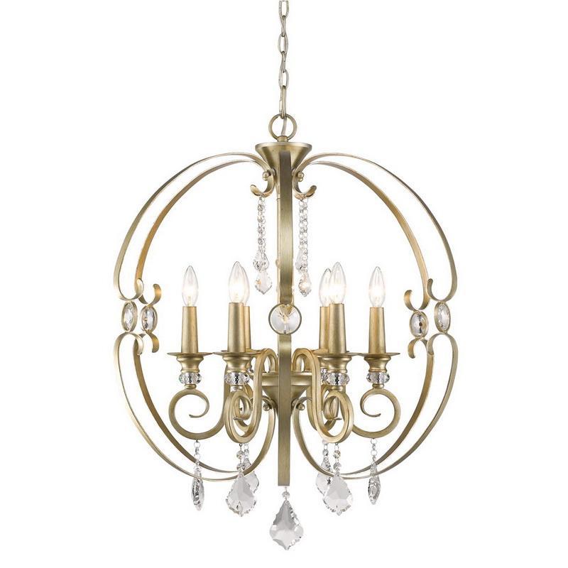 Golden Lighting 1323-6-WG 6-Light Single Tier Chandelier 60 Watt 120 Volt White Gold Ella