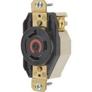Hubbell Twist Lock Receptacle HBL2640 30 Amp 480 vac 2 Pole 3 Wire Grounding