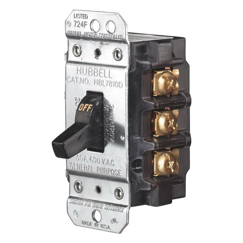 Hubbell-Wiring HBL7810D 3-Pole AC Manual Motor Controller 600 Volt AC 30 Amp Circuit-Lock®