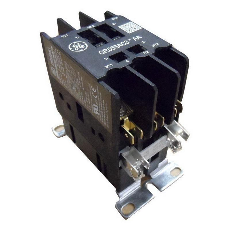 GE CR553AC3FAA 3 Pole Open Type CR553 Series Full Voltage Definite Purpose Contactor 30 Amp 277 Volt AC