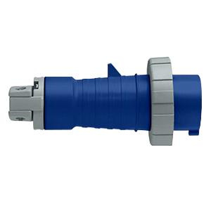 Leviton 430P9W 4 Wire 3 Pole Watertight Industrial Grade Pin and Sleeve Plug 250 Volt 60 Amp Blue