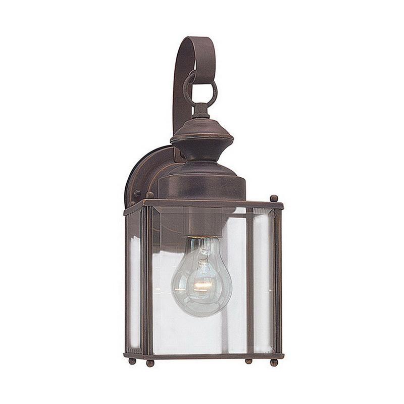 Sea Gull Lighting 8457-71 1-Light Outdoor Wall Lantern 100 Watt 120 Volt Antique Bronze Jamestowne