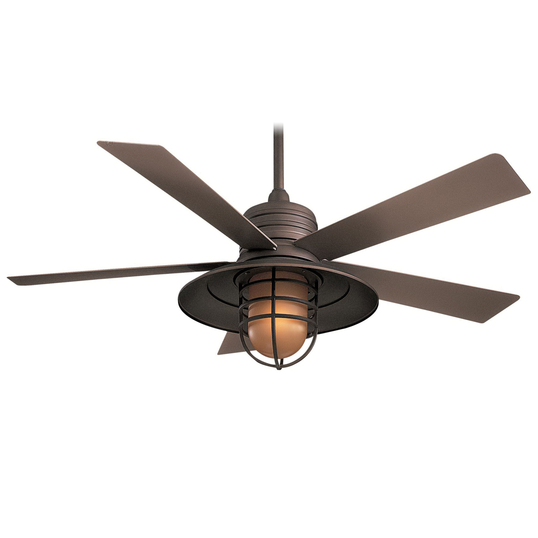 Minka-Aire F582-ORB Transitional Ceiling Fan With Light 54 Inch 5 Blade 3 Speed Oil Rubbed Bronze Rainman™