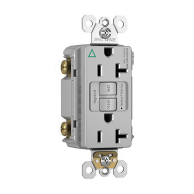 Pass & Seymour 2097-IGTRGRY Specification Grade Tamper-Resistant Self-Test GFCI Duplex Receptacle 20 Amp 125 Volt AC NEMA 5-20R Gray Radiant®