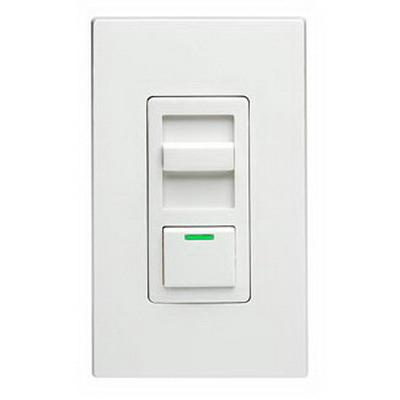 Leviton IPE04-1LZ 120 Volt AC at 60 Hz 1-Pole Electro-Mechanical 3-Way Electronic Low Voltage Slide Dimmer With LED Locator White Face Decora® IllumaTech®