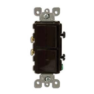 Leviton 5634 120/277 Volt 15 Amp (2) 1-Pole Commercial Grade AC Combination Switch Brown Decora®