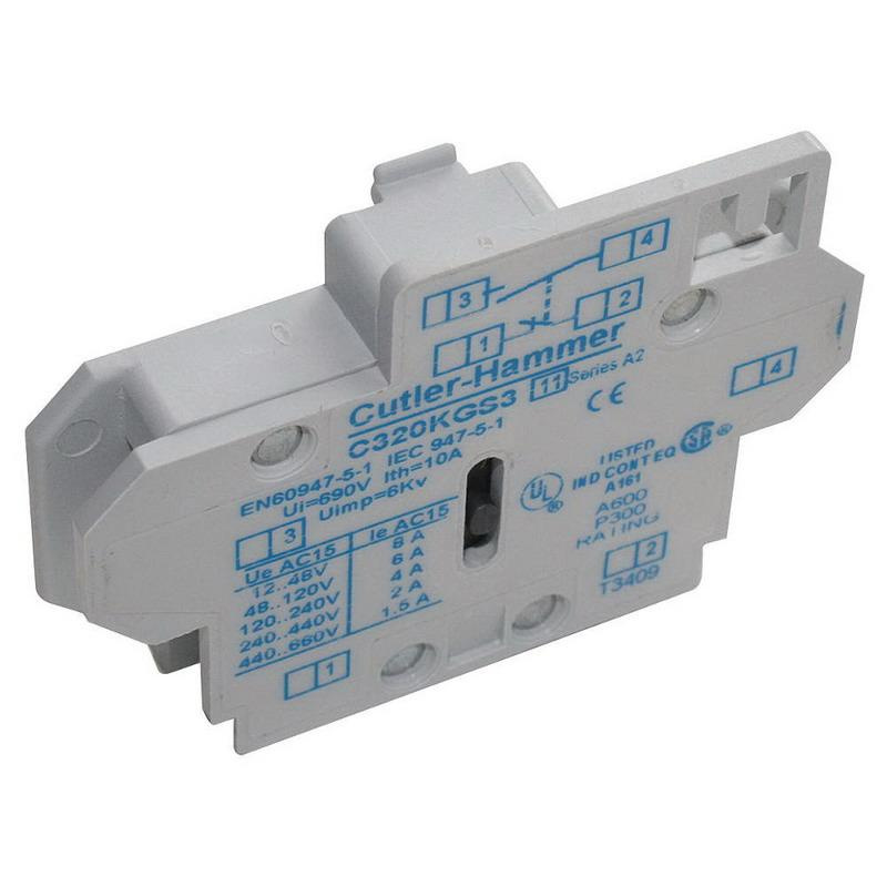 Eaton C320KGS3 Standard Freedom Series Heavy-Duty Auxiliary Contact 120 - 600 Volt AC 10 Amp 1 NO-1 NC