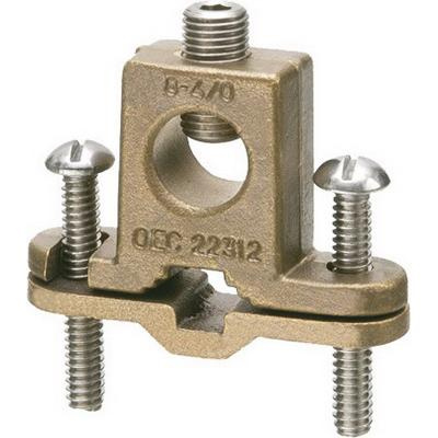 Arlington 718DB Solid Bronze Bare Wire Ground Clamp With Closed Lug 3/8 - 1 Inch Pipe 8-4/0 AWG