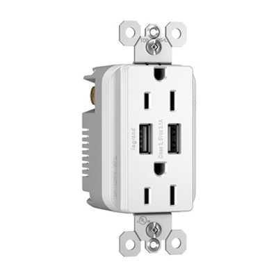 Pass & Seymour TM826USBW Tamper-Resistant Decorator USB Charger With Duplex Receptacle 15 Amp 125 Volt NEMA 5-15R White Radiant®