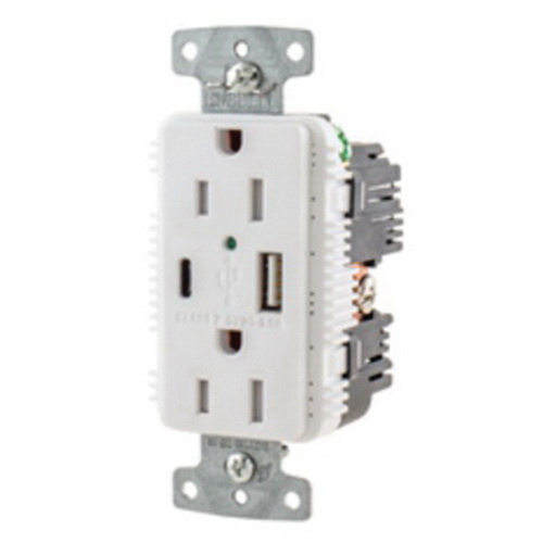 Hubbell-Wiring USB15AC5WP Commercial Grade Tamper-Resistant Duplex ...