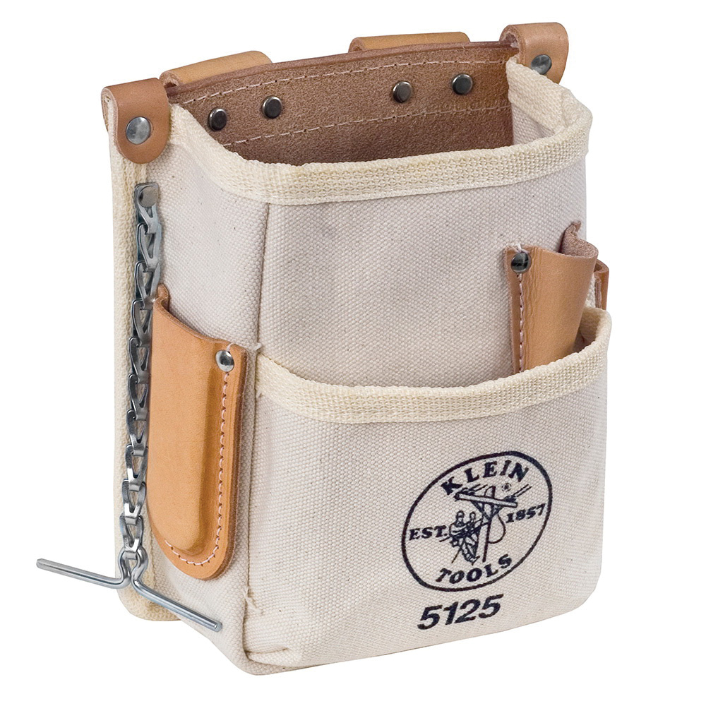 fdb7533d2db Klein Tools 5125 5 Pockets Tool Pouch No. 4 Canvas with Leather Back ...