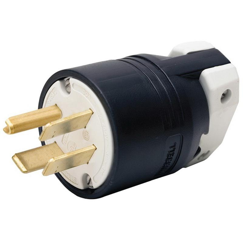 Hubbell-Wiring HBL8451C 4-Wire 3-Pole Straight Blade Plug 250-Volt on