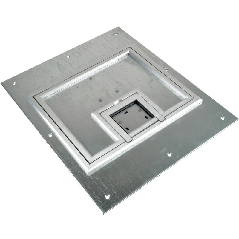 FSR FL-500P-SSQ-C U-ACCESS Steel Lift-Off Door Floor Box U-Access Cover With 1/4 Inch Aluminum Square Flange 10-1/2 Inch x 12-1/2 Inch