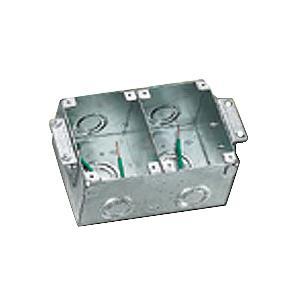 Hubbell Wiring B2482 Stamped Steel Box Brass Collar 2 Gang