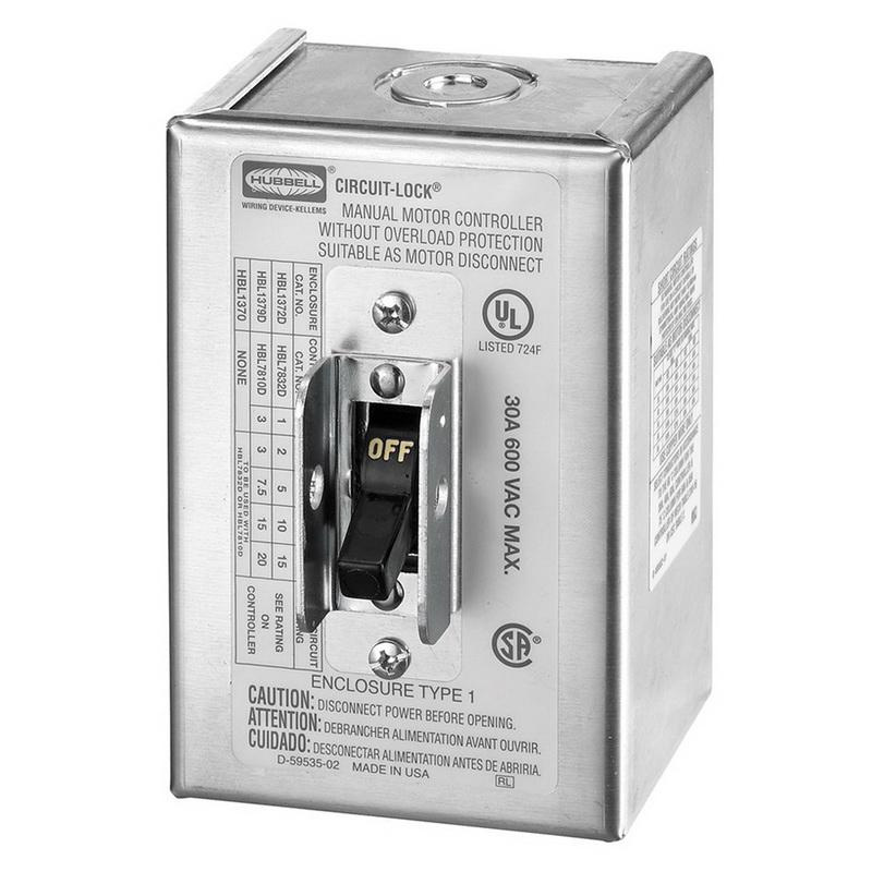 Hubbell-Wiring HBL1379D 3-Pole Manual Motor Controller Disconnect Switch 600 Volt AC 30 Amp Circuit-Lock®