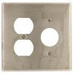 Mulberry 97572 430 Stainless Steel Standard Size 2-Gang Combination Wallplate (1) Duplex Receptacle (1) Single Receptacle