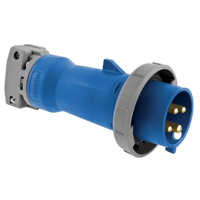 Hubbell-Wiring HBL4100P9W 4-Wire 3-Pole Watertight Pin and Sleeve Plug 250 Volt 100 Amp Blue