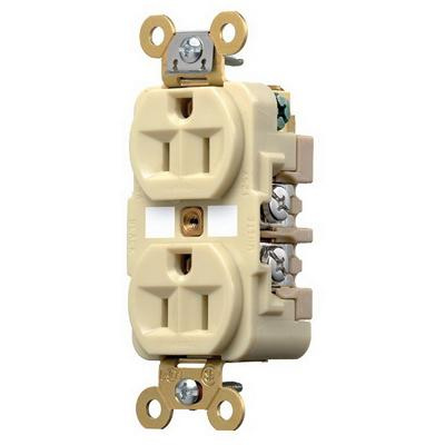 Hubbell HBL5262I Duplex Receptacle HD Industrial Grade 15 amp 125V 5-15R Ivory