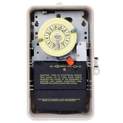 Intermatic T101P201 ON/OFF Heavy-Duty T100 Series Mechanical Timer Switch With Pool Heater Protection 120 Volt AC 24 Hour