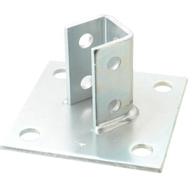 B-Line B280ZN Zinc Electroplated Steel 4 Hole Square U Post Base