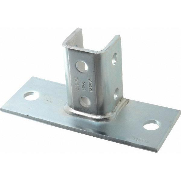 B-Line B280FL-ZN Zinc Electroplated Steel 2 Hole Rectangular U Post Base