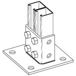 B-Line B281SQ-ZN Zinc Plated Steel 4 Hole Square Centered Post Base