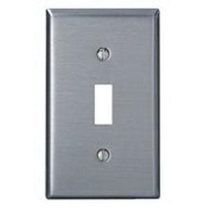 Leviton 84001 430 Stainless Steel Device Mount Standard Size 1-Gang Toggle Switch Wallplate (1) Toggle Switch Brushed Stainless Steel