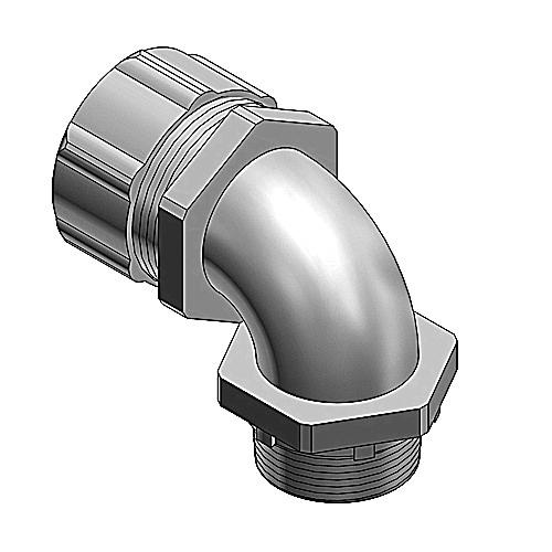 Thomas & Betts 5353 Zinc Electroplated/Chromate Coating Malleable Iron Insulated Liquidtight 90 Degree Connector 3/4 Inch 52® 53® Series