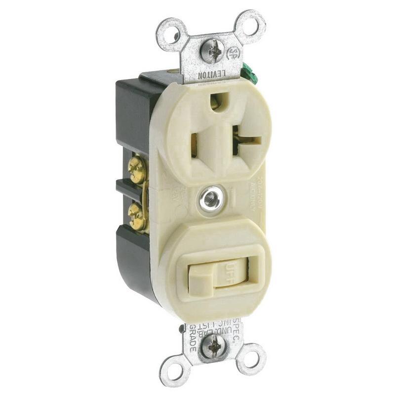 Leviton 5335-I 1-Pole Duplex AC Combination Receptacle Or Switch Device 120 Volt AC Switch 125 Volt AC Receptacle 20 Amp NEMA 5-20R Ivory
